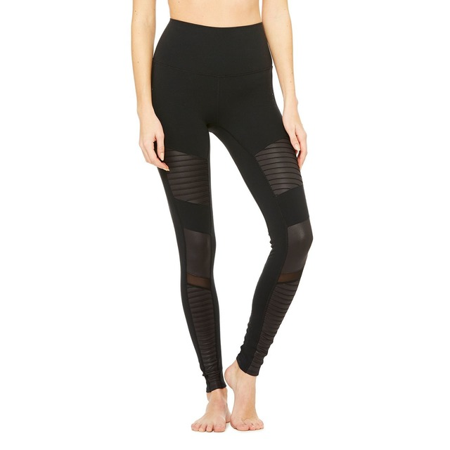 Alo Yoga High Waist Moto Black/ Black Glossy