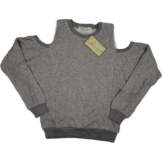 Cold Shoulder Crew Neck Pullover - Grey