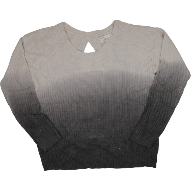 Dip Dye Twist Back Rib Sweater - Cream/Charcoal