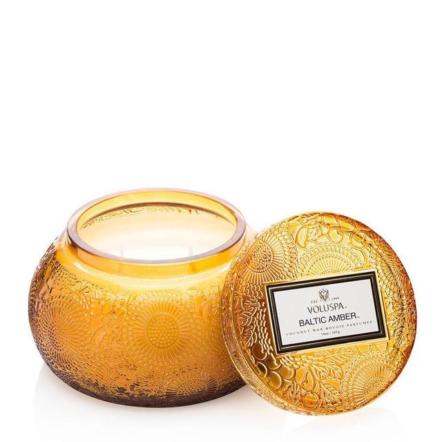 Voluspa Embossed Glass Chawan Bowl w Lid Baltic Amber