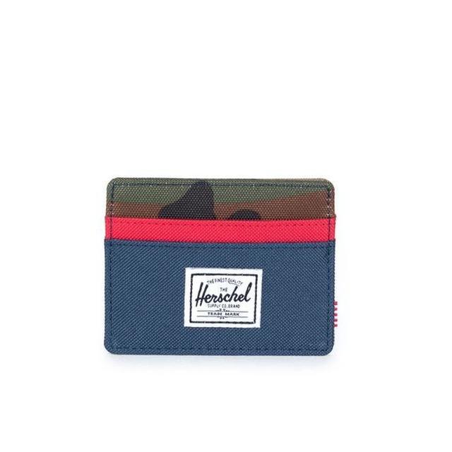 Herschel Charlie+ RFID Blocking Navy/Red/Woodland Camo
