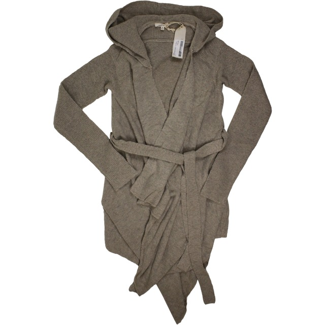 Hoodie Belted Cardigan - Light Mocha