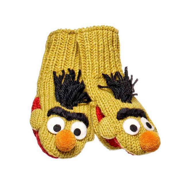 Kintwits Sesame Street Mittens Bert (Yellow)