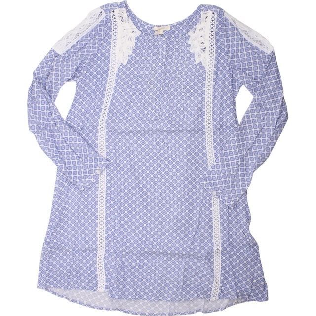 Mystree Lace Trimmed Shift Blue