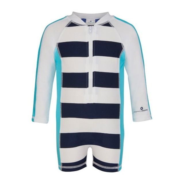 Snapper Rock Long Sleeve Sunsuit Navy/Aqua