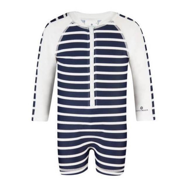 Snapper Rock Long Sleeve Sunsuit Navy/White French Stripe