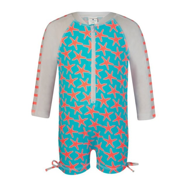 Snapper Rock Long Sleeve Sunsuit Starfish Coral/White