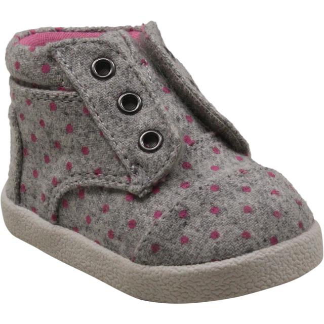 Tiny Paseo High Shoes - Grey Wool Polka Dot