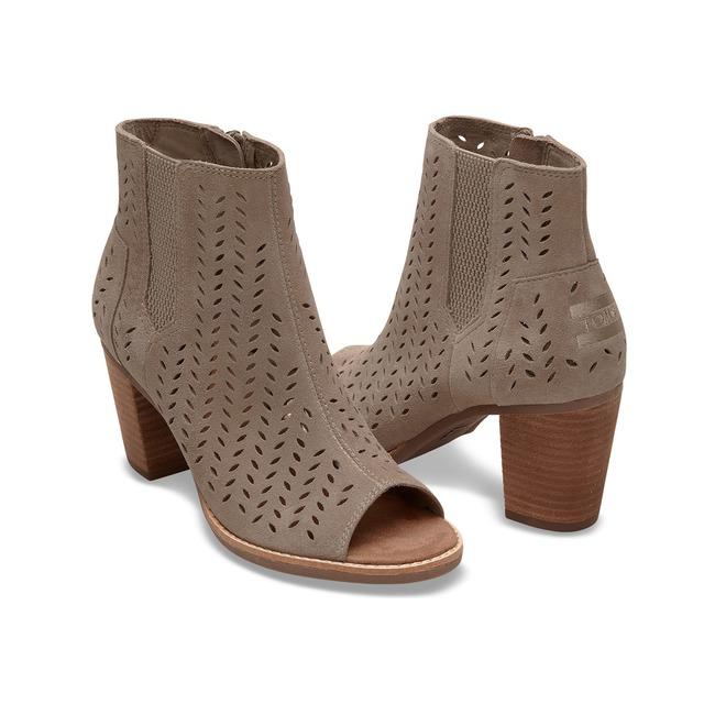 Toms Majorca Peep Toe Desert Taupe Suede Perforated Leaf