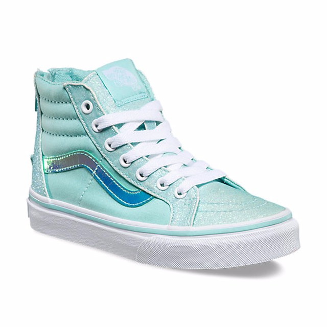 Vans G SK8-Hi Zip (Glitter & Iridescent) Blue/True White
