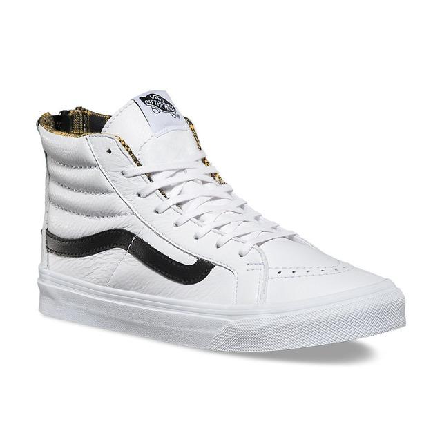 Sk8-Hi Slim Zip - (Plaid Flannel) True White/ Black
