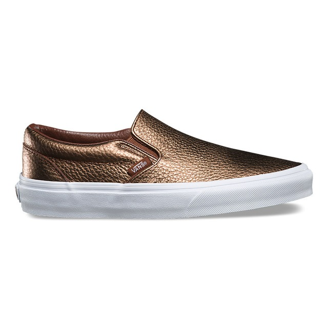 Vans Womens Classic Slip-On Metallic Leather Saddle Brown