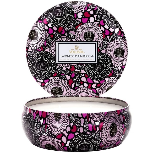 Voluspa 3 Wick in Decorative Tin Japanese Plum Bloom
