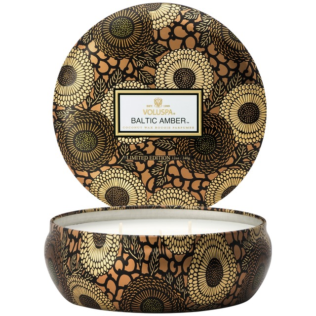 Voluspa 3 Wick in Decorative Tin Limited Edition Baltic Amber
