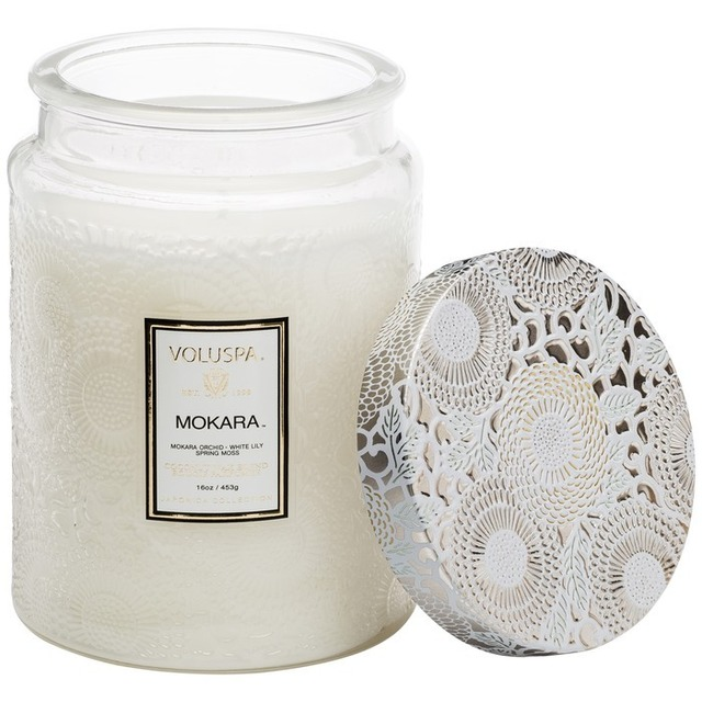 Voluspa LARGE EMBOSSED GLASS JAR W/METALLIC LID CANDLE Mokara