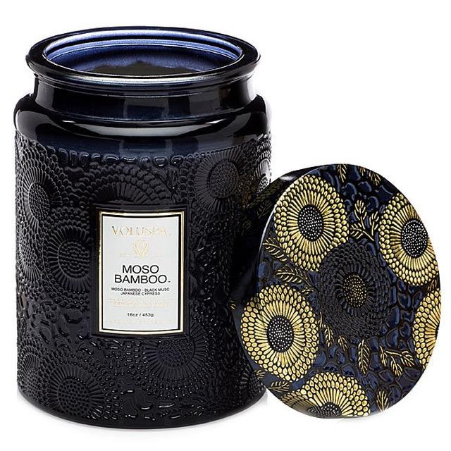 Voluspa LARGE EMBOSSED GLASS JAR W/METALLIC LID CANDLE Moso Bamboo