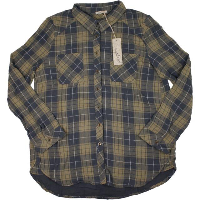 Mystree Washed Plaid Shirt Taupe/Blue
