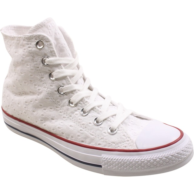 Converse Womens Chuck Taylor All Star HI White/ Garnet/ Clematis Blue
